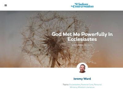 Wisdom In Conversation (WIP) work in progress elementor wordpress website design web design blog