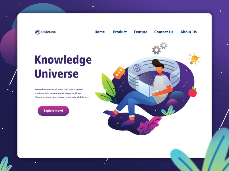 Knowledge Universe website design space landingpage knowledge thinker vector website web ux ui interface illustration graphic  design design characterdesign character