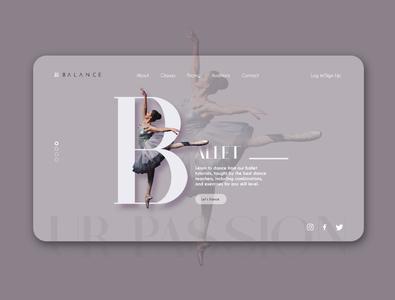 Ballet dance Web landing page adobe xd ballet dance ux branding ui typography dribbble best shot design