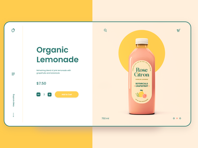 Lemonade Product Page Design bottle label package design packaging peachy web app yellow web lemonade product page web design daily ui adobexd