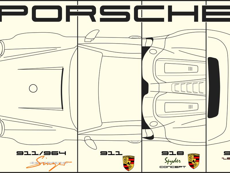 Porsche Collage Vectoral collage collageart adobe illustrator porsche singervehicledesign vector illustration design