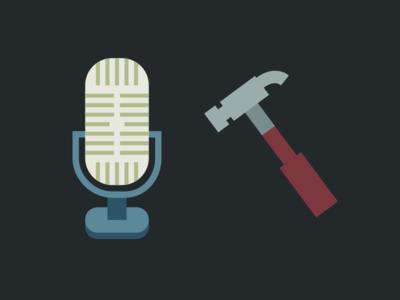 Hammer and Mic illustration flat tuts hammer microphone