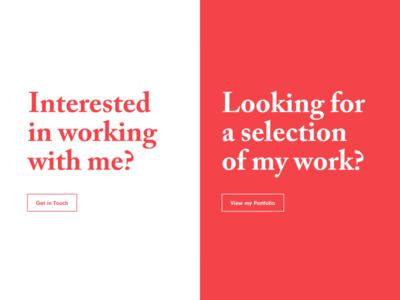 Split screen about personal site portfolio