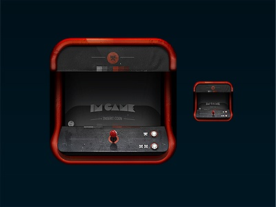 ImGame - App Icon arcade photoshop 3d joystick nes genesis n64 sega cd ps3 xbox 360 pc iphone icon app quarter red grey pixel game new snes wii tg16 neo geo cabinet token