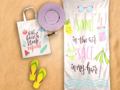 Beach Towel and Tote Bag Mock-up