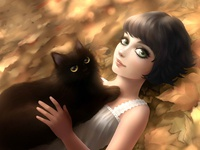 Little black hair girl and her black cat lying in the ground