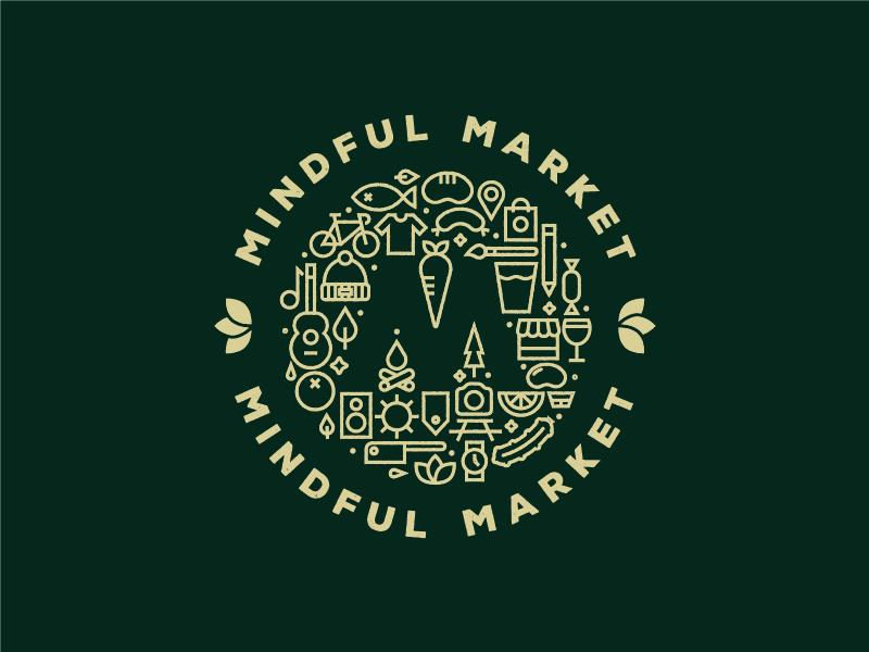 Mindful Market Branding flea food market branding logo pictograms icons