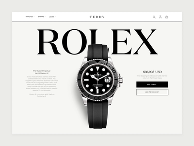 Featured Watch Detail rolex feature teddy watches web design website animation product watch ui ux