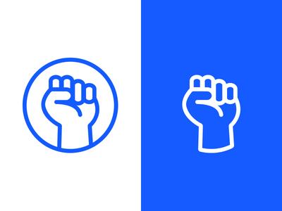Fist Logo free punch line hand symbol icon blue logo fist
