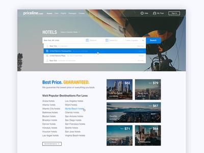 Priceline.com Homepage Redesign prototype adobe xd website travel rebrand mockup redesign priceline priceline.com