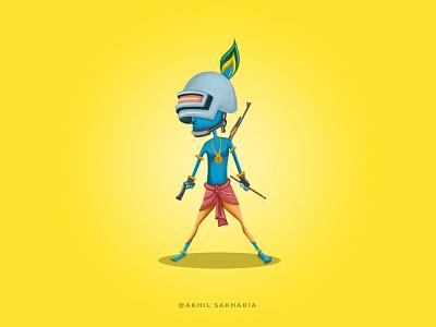 PUBG Krishna design logo motion graphics visual effects vector drawing illustration graphic design digital painting art animation
