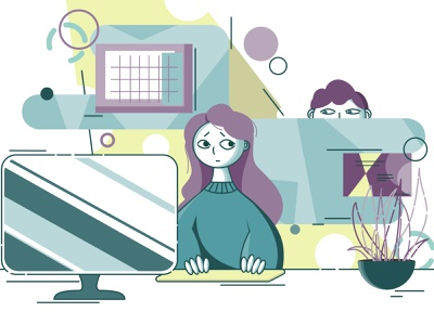 First day at work colors emotions character design job office girl boy characters illustration