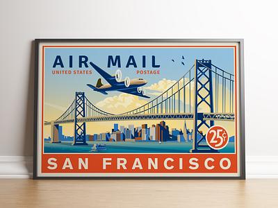 U.S. Airmail San Francisco Full Poster vector illustration usps vintage inspired vector travel airplane san francisco
