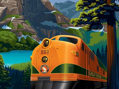 Empire Builder Vintage Train Illustration travel streamliner railway nationalpark outdoors vintage tourism vector illustrator train