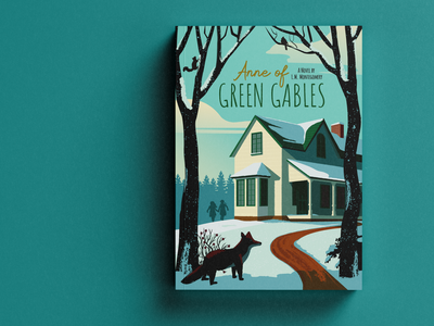 Anne of Green Gables Children's Book Cover fox winter youthful whimsical layout publishing anne of green gables book literature illustration book cover