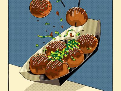 Takoyaki Food Illustration design editorial art junkfood foodie vector illustration japanese food takoyaki