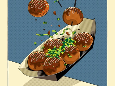 Takoyaki Food Illustration design editorial art junkfood foodie vector illustration japanese food takoyaki