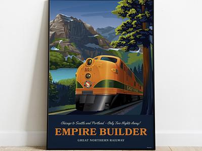 Empire Builder Train Illustration railway transportation travel tourism vintage inspired vector illustration trainstation great northern railway pacific northwest empire builder rail train