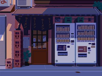Urban Storefront - Detail storefront vector urban art citylife japan ramen shop vending machine illustration urban