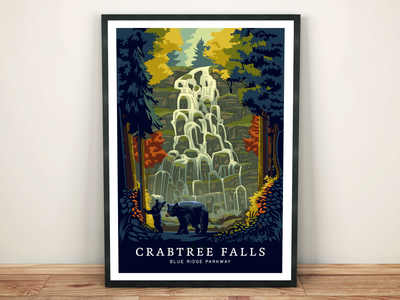 Crabtree Falls, Blue Ridge Parkway Travel Print illustration waterfall forest animals black bear north carolina nature tourism travel hiking blue ridge parkway