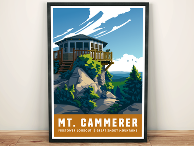 Mt. Cammerer Travel Illustration art print great smoky mountains landscape scenic nature mountains tourism travel poster illustration hiking outdoors