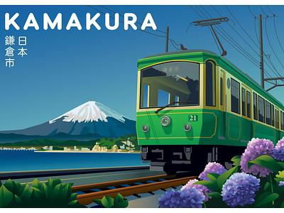 Kamakura, Japan Travel Illustration japanese postcard tourism travel seaside mt. fuji hydrangea illustration kamakura train japan