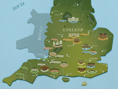 Literary Map of Jane Austen Novels map design illustration jane austen literary map infographic