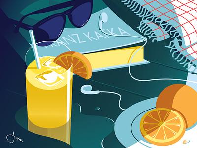 August editorial still life beach illustration calendar