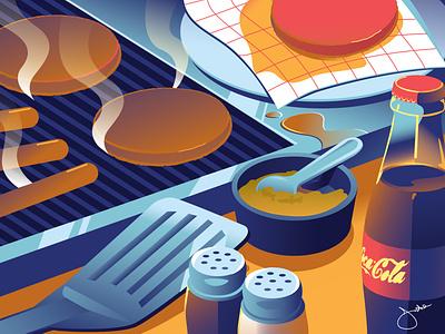 June editorial summer still life food and drink vector illustration