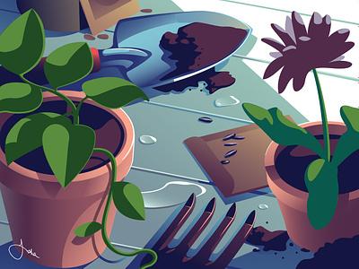 April slice of life outdoors plants spring gardening editorial still life calendar vector illustration