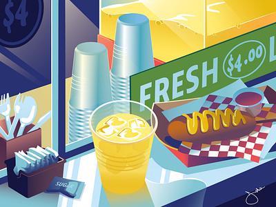 September food stall drink carnival still life editorial fair food drink vector illustration