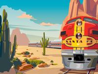 Southwest Chief Retro Train illustration