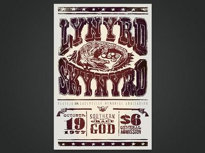 Lino Cut Lynyrd Skynyrd Print