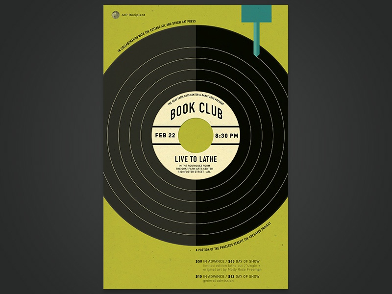 Book Club - Live to Lathe gig gig poster poster band poster band music design atlanta graphic icon record vector