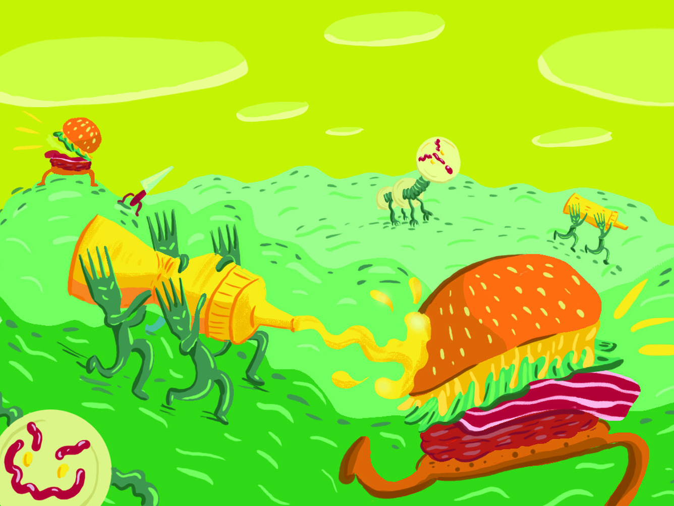 Burger Craze funny character cartoon burgers digital illustration