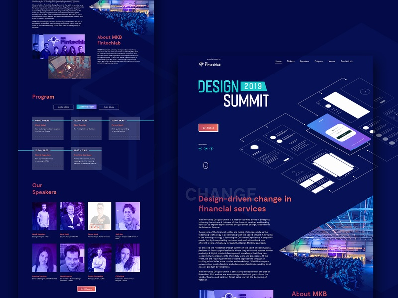 Design Summit Landing page summit header speakers gradient abstract ux webdesign landing page event design ui