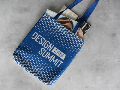 Design Summit Tote Bag Design white blue tote bag exhibition design gift abstract design swag bag summit print