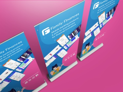 Family Finances Corporate Roll-Up financial services end-to-end mobile banking identity design illustrator illustraion mockup corporate design print rollup