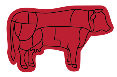 Beef Chart letterpress illustrator red meat carnivore