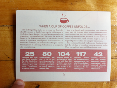 MHGS Annual Report - Unfolding, pg. 1 coffee justified