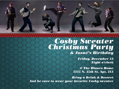 Cosby Sweater Christmas Party Invite bodoni invite cheesy