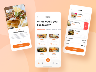 Food order app card menu cart order bretzel food ux mobile app design mobile ui app