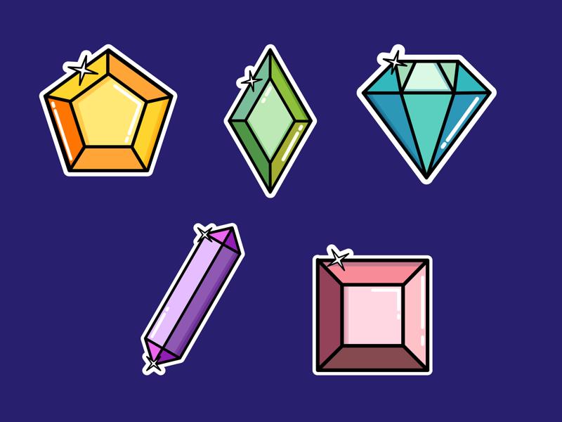 Gem Stickers colour gemstones gems stickers illustration design assemblyapp