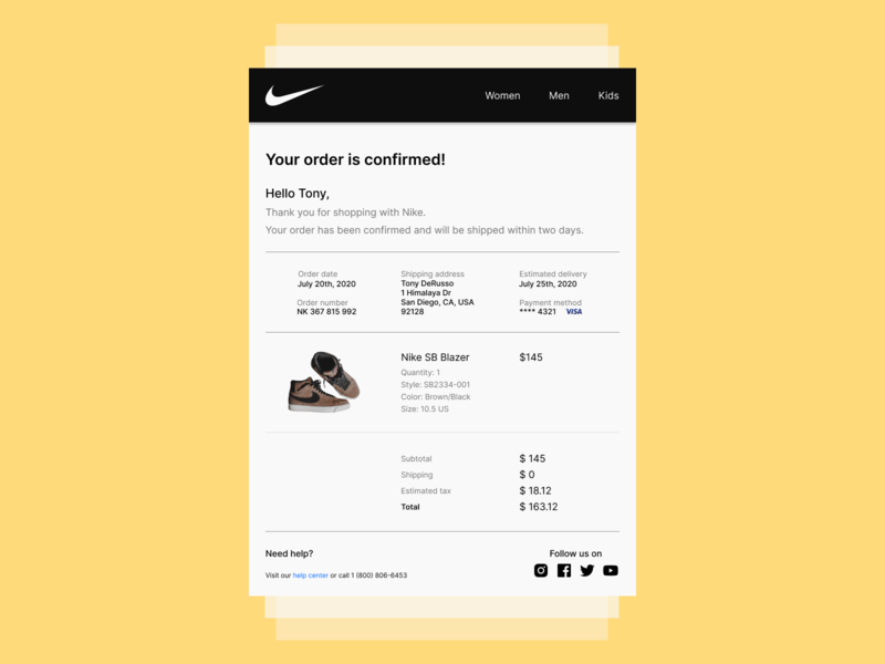Daily UI Challenge. Day 017/100 design email template receipt confirmation grid layout figma dailyui daily 100 challenge shoes shopping order confirmation purchase email email receipt nike shoes nike