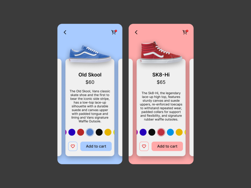 Daily UI Challenge. Day 033/100 app daily ui daily 100 challenge ecommerce design ecommerce shop ecommerce app ecommerce product page customize product customization shopping cart shopping app vans shoe shop shoes store shoes app shoe