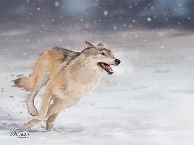 Wolf winter snow book art cover chase animals animal dog running run wolf wildlife landscape photoshop design painting digital art artwork illustration