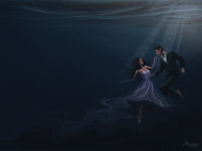 Book Cover - Dream Traveler editorial blue ocean storytelling fiction young adult young couple romance underwater art cover book drawing painting artwork digital art illustration