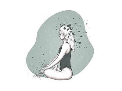 Namaste I boho yogi sustainable eco vegan meditate meditation peace mindful pose asana yoga digital art design drawing painting artwork illustrator illustration
