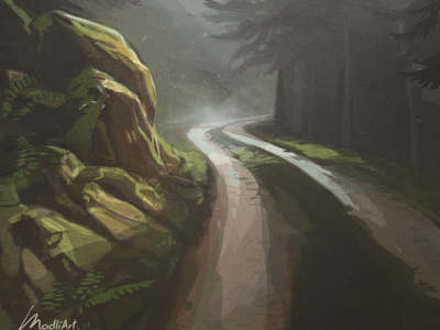 On my way home illustration illustrations digital painting landscape nature countryside trees woods mist road forest painting