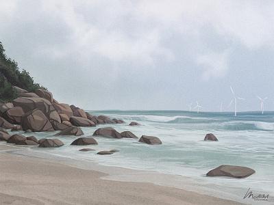Grey Day advertisement photoshop cover art magazine editorial wind turbine cloudy beach landscape illustrator painting digital art illustration